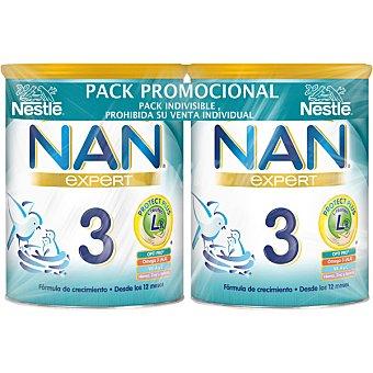 Nestlé NAN 3 Optipro fórmula de crecimiento premium en polvo a partir de 12 meses sin aceite de palma Pack 2 x 800 g