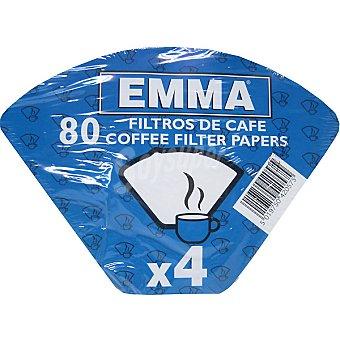 EMMA Filtros de café 1x4 retractilado paquete 80 unidades