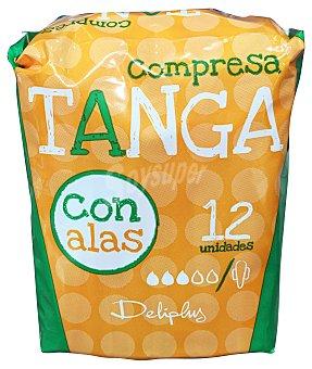 Deliplus Compresa absorcion normal tanga plegada alas Paquete de 12 uds