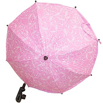 CANASTILLA SAMPLES Sombrilla redonda para silla de paseo en color rosa con dibujos de elefantes