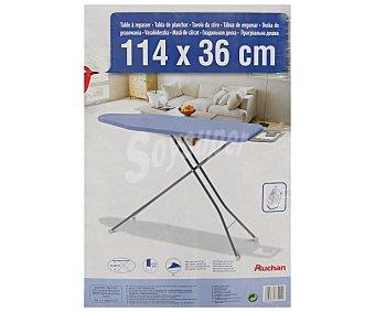 Auchan Tabla de planchar plegable y regulable en altura con soporte para plancha, altura máxima de 92 centímetros y hasta 4 posiciones diferentes, 114x36 centímetros 1 unidad