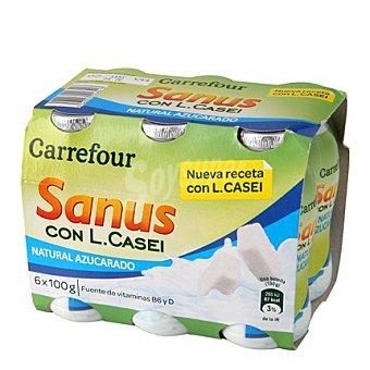 Carrefour Yogur líquido Sanus natural azucarado + l.casei 6 unidades de 100 g