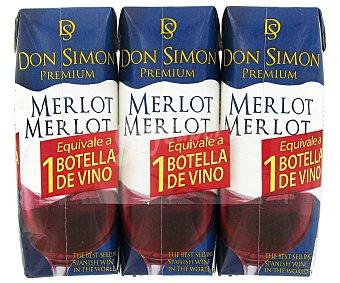 DON SIMON MERLOT Vino Premium Merlot DON simon Pack 3 unidades x 250 ml 3x250ml
