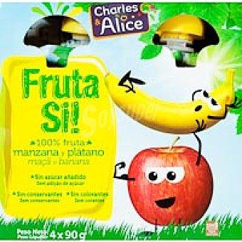 FRUTA SÍ Compota de manzana-plátano Pack 4x90 g