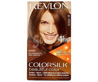REVLON Tinte Castaño Claro nº 51 permanente y sin amoniaco Colorsilk Caja 1 unidad