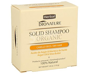 BIONATURE Champú en pastilla para cabello seco con aceite de argán y manteca de karité 100 g