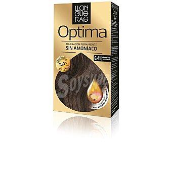 Llongueras Tinte Optima chocolate bombón nº 6.41 coloración permanente caja 1 unidad con aceites de rosa mosqueta y macadamia Caja 1 ud