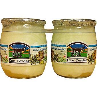 CAN CORDER Yogur desnatado con piña pack de 2 envase 125 g pack de 2 envase 125 g