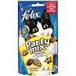 Party MIX Cheezy Mix snacks para gato con sabor a queso Cheddar, Gouda y Edam Envase 60 g Purina Felix
