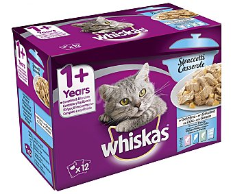 Whiskas Comida para gatos húmeda a base de pescado whiska 12 uds.100 g