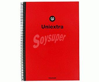 UNI-EXTRA Cuaderno DIN A4 con cuadricula de 4x4 milímetros, margen izquierdo, 100 hojas de 90 gramos, tapas extra duras de cartón de color rojo y microperforado con encuadernación con espiral metálica negra 1 unidad