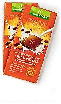 Intermón Oxfam Chocolate con leche y almendras troceadas biológico 100 gramos