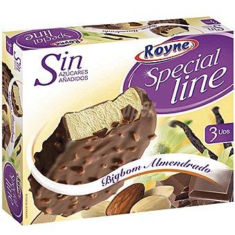 ROYNE SPECIAL LINE Bombón helado de vainilla almendrado sin azúcares añadidos 3 unidades estuche 330 ml 3 unidades