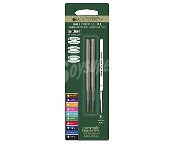 Monteverde Set de 2 recambios de punta tipo roller de grosor medio, con tinta líquida de color azul y compatibles con cualquier bolígrafo tipo roller y con bolígrafos de la marca Montblanc 1 unidad
