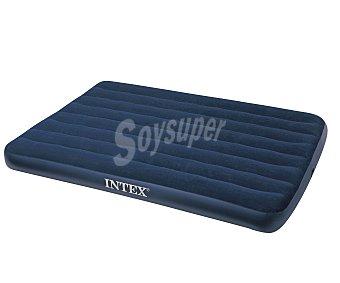 INTEX Colchón hinchable doble con revestimiento superior flocado (acabado similar al terciopelo), 191x137x22 centímetros Colchón hinchable doble