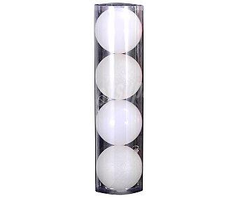 Actuel Set de 4 bolas colgantes de 10 centímetros de color plata y con acabados en brillante y purpurina, ACTUEL.