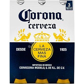 CORONITA cerveza rubia mejicana  pack 3 botellas de 35,50 cl