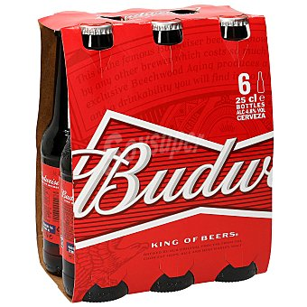 Budweiser Cervezas Pack de 6 botellines de 25 centilitros