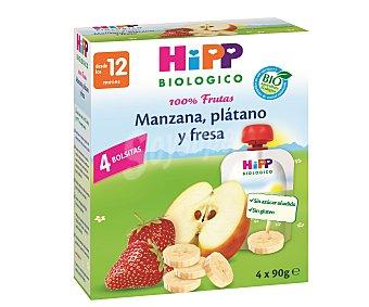 HiPP Biológico Puré de manzana plátano y fresa de agricultura ecológica 4 unidades de 90 gramos