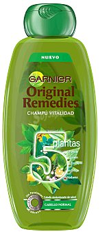 ORIGINAL REMEDIES Champú vitalidad 5 plantas -Té verde, Limón, Eucalipto, Ortiga y Verbena- 400 ml