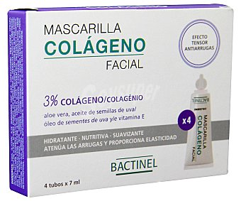 Bactinel Mascarilla Colágeno Facial con colágeno hidrolizado, aloe vera, aceite de semilla de uva y vitamina E, proporciona un efecto tensor, revitaliza y da firmeza a la piel 4 Unidades