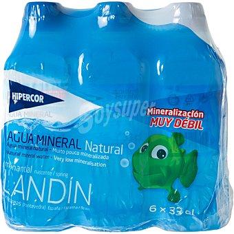 Hipercor Agua mineral natural de mineralización muy débil Pack 6 botellas 33 cl