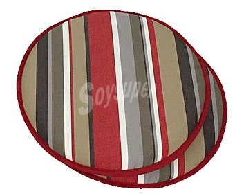 Auchan Cojínes para sillas con forma redonda de color marrón, de 40x3.5 cm 2 unidades
