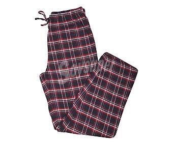 2U Pijama con camiseta de manga larga y pantalón largo de franela color granate, talla M