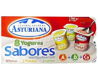 Central Lechera Asturiana Yogures sabores 4 de fresa + 2 de limón + 2 de plátano ds. 125 g Pack 8 un