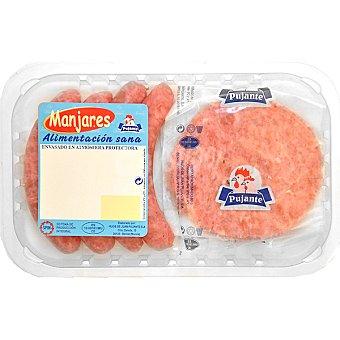 PUJANTE Mixto de hamburguesas y salchichas 4 unidades bandeja 320 g 2 unidades