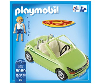 Playmobil Conjunto de juego Surfista con coche descapotable, incluye 1 figura, Summer Fun 6069 1 unidad