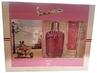 VESPA Lote mujer eau toilette vaporizador 50 ml + body milk 75 ml  1 unidad