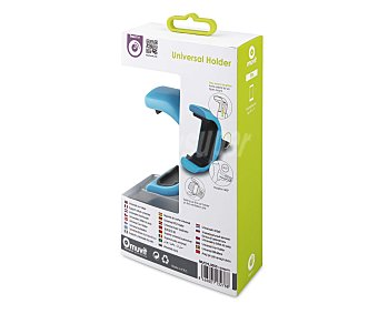 """MUVIT Soporte de coche universal Azul, para salida del aire, rotativo, para teléfonos de hasta 5,7"""". 1 Unidad"""