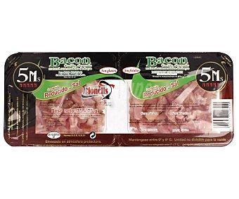 MONELLS Bacon ahumado en tiras reducido en sal 2 unidades de 75 gramos