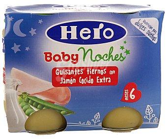 Hero Baby Tarrito de guisantes con jamón cocido Pack de 2 unidades de 200 gramos