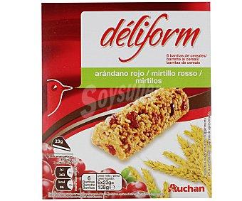 Auchan Barritas de copos de arroz y de trigo integral con arándanos 6 unidades 138 gramos