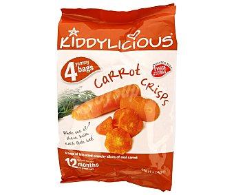 Kiddylicious Snack de zanahoria crujiente especiales para niños Pack de 4x14 gramos
