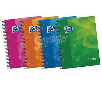 Oxford Cuaderno A4 con cuadrícula 5mm con espiral microperforado, tapas de plástico,120 hojas con 4 recuadros de color y tres separadores extraíbles