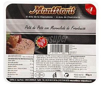 Montflorit Pate de pato con mermelada de frambuesa y sin gluten montfloir 80 g. 80 g