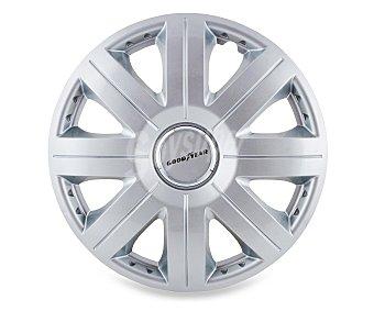 """GOODYEAR Juego de 4 tapacubos modelo Flexo 20 para ruedas de 15"""", de color plata y diseño robusto y plano con aspecto de llanta de aleación 1 unidad"""