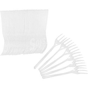 CASACTUAL Mini tenedor transparente de aperitivo 10 cm paquete 50 unidades 10 paquete 50 unidades