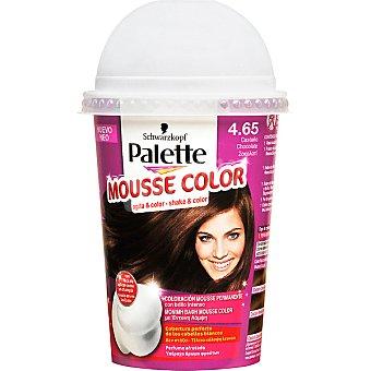 Schwarzkopf Palette tinte nº4.65 Castaño Chocolate coloración Mousse Color permanente con brillo intens envase 1 unidad con perfume afrutado Envase 1 unidad