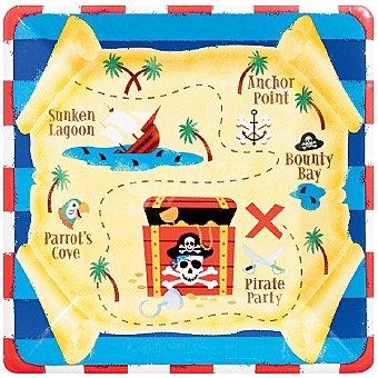 LIRAGRAM Plato cartón decorado Tesoro Pirata 17,7 cm 8 unidades
