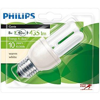 Philips (40 W) lámpara ahorro blanco cálido casquillo E27 (grueso) 220-240 V Genie 8 W 1 unidad
