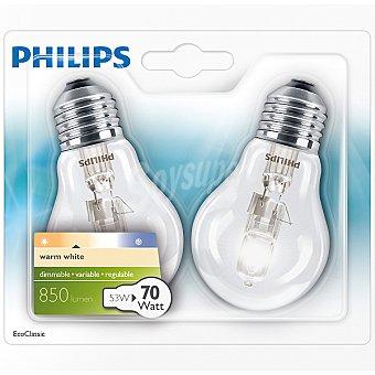 PHILIPS Ecoclassic 53 W (70 W) set 2 lámparas eco halógenas blanco cálido casquillo E27 (grueso) 2 l
