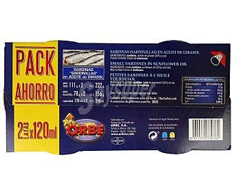 Orbe Sardinas en aceite vegetal Pack de 2 unidades de 78 gramos
