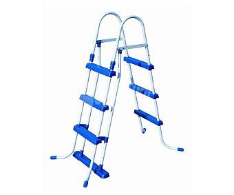 Bestway Escalera para piscinas con estructura de metal galvanizado de color blanco, escalones de plástico de alta calidad de color azul y medida de 107 centímetros 1 unidad