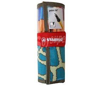STABILO POINT 88 Rotuladores Escritura de Punta Fina Diseño con Motivo de Animales Color Turquesa 25 Unidades