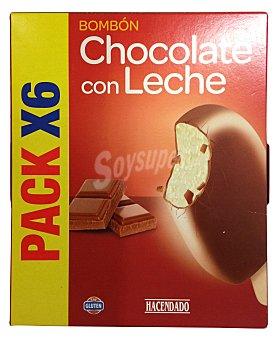 Hacendado Helado palo bombón chocolate con leche Caja 6u
