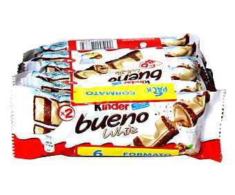 KINDER BUENO White Barritas de chocolate blanco y avellanas Pack 6 ( 258 g)
